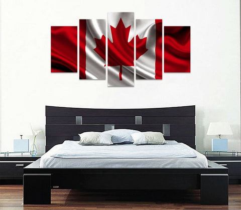5 panel canada flag canvas wall art with cloth texture