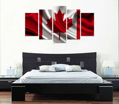 5 panel canada flag canvas wall art cloth like print panelwallart.com