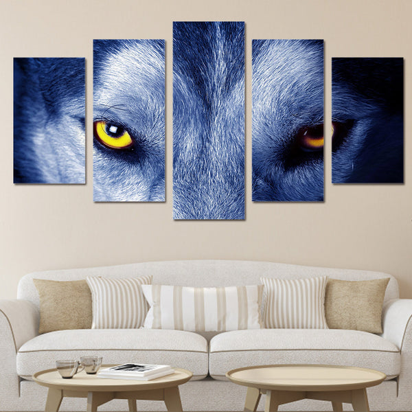 5 panel Fierce Wolf Eyes Canvas Wall Art