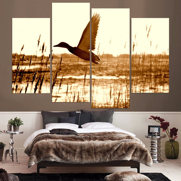 Bird Flies Over Field Canvas Wall Art