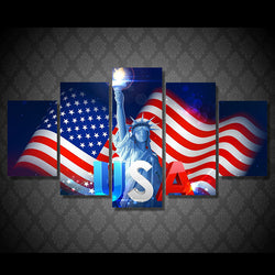 5 panel USA American Flag with Liberty Statue canvas wall art