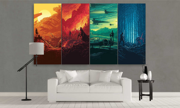 Colourful Star Wars Canvas Wall Art 4 Pieces Set | Panel Wall Art
