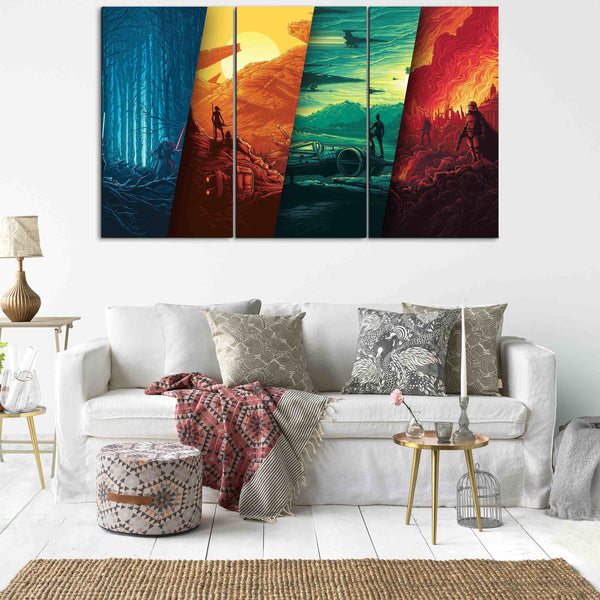 3 panel star wars canvas wall art by panelwallart.com