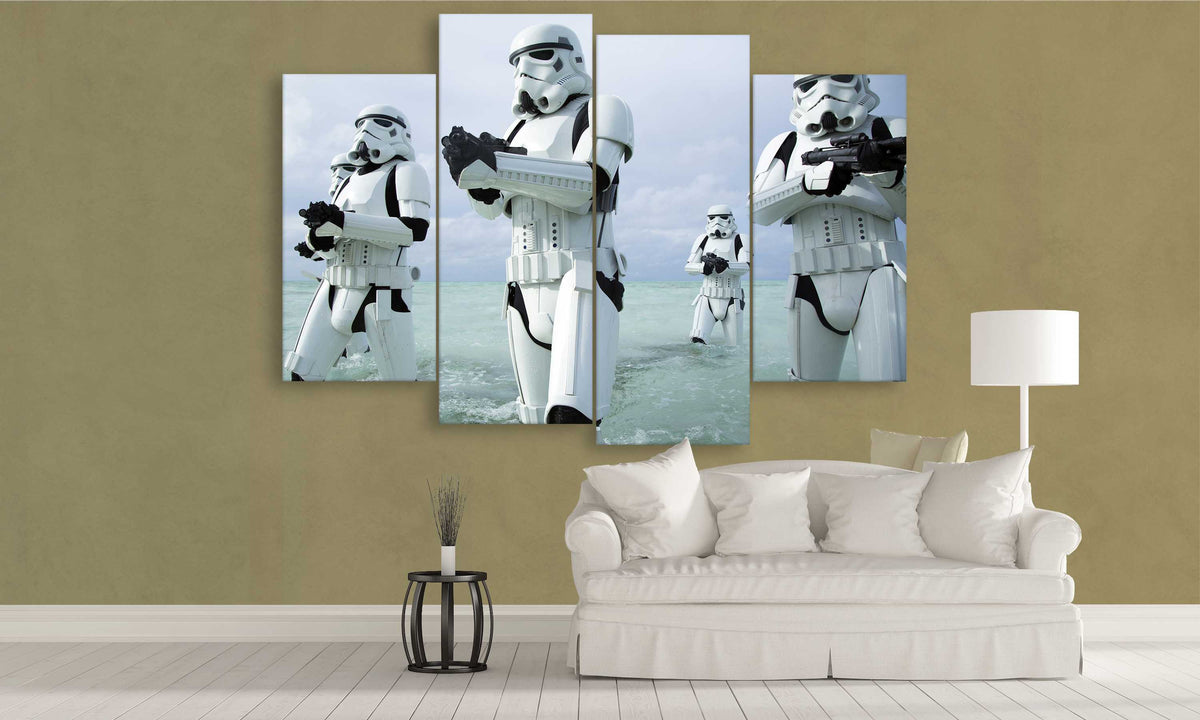 4 panel Stormtroopers Canvas Wall Art | PanelWallArt.com