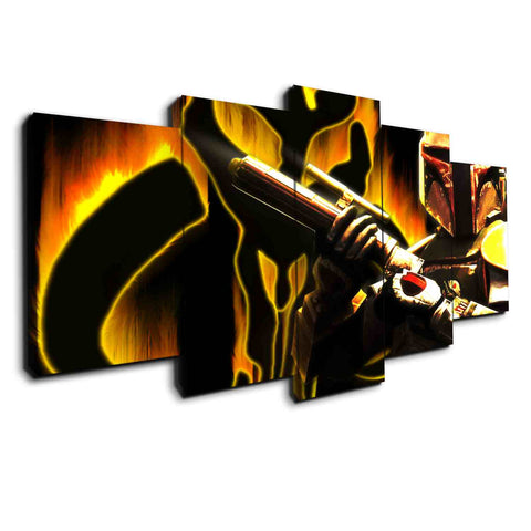 Boba Fett On Fire | Black Friday Cyber Monday Sale | Panel Wall Art Canvas