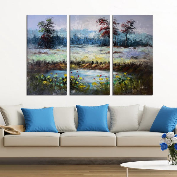 Richness abstract 3 panels oil painting canvas wall art etsy
