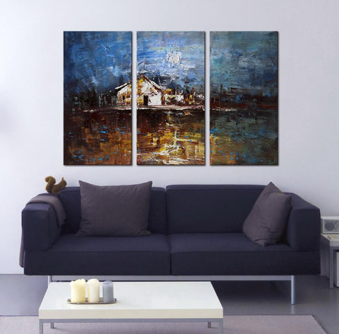 The House abstract 3 panels oil painting canvas wall art etsy