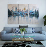 Lake Reflects abstract 3 panels oil painting canvas wall art etsy