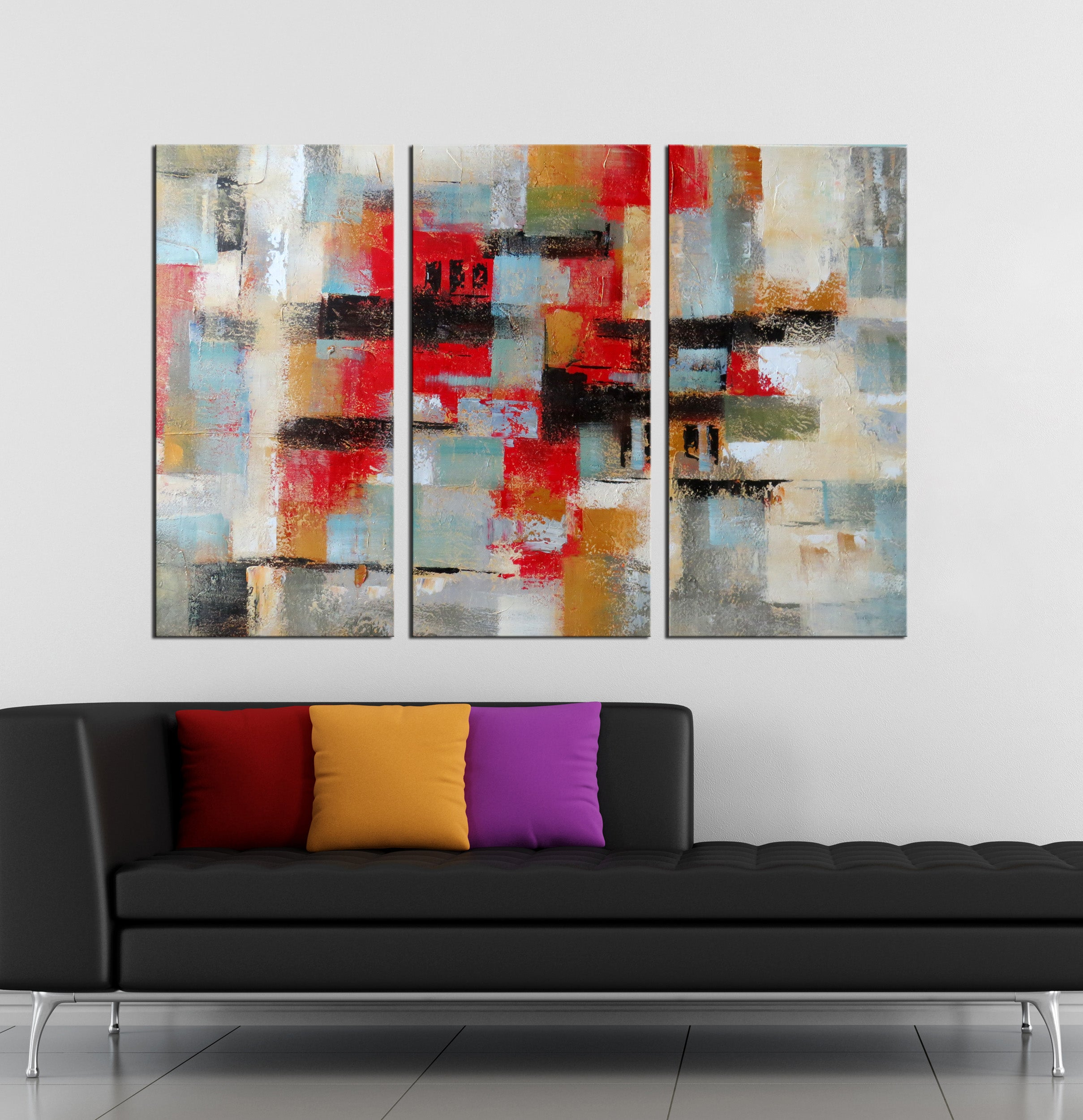 3 pieces red and square abstract oil painting etsy canvas framed wall art
