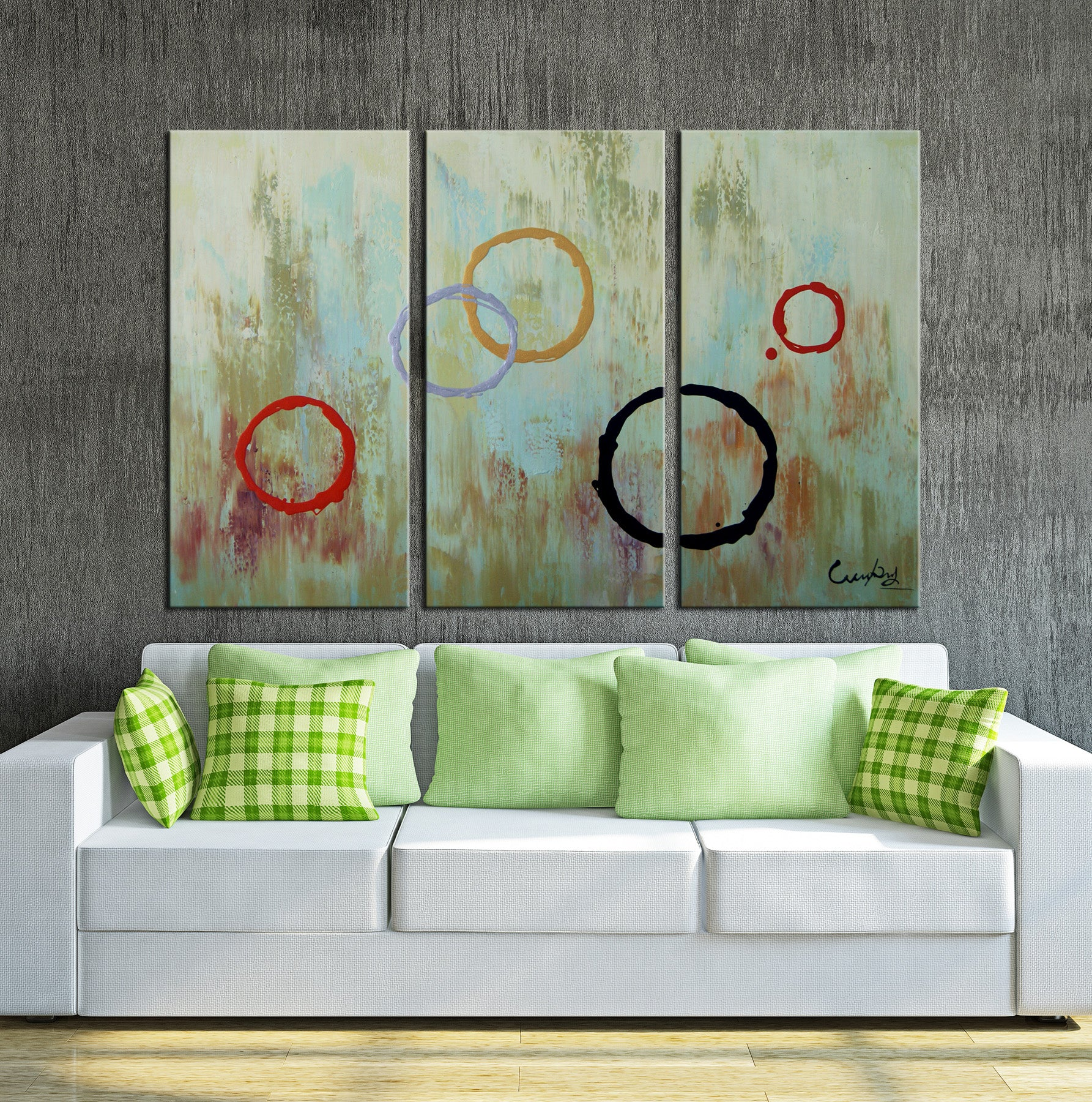 3 pieces circle contemporary oil painting canvas framed wall art
