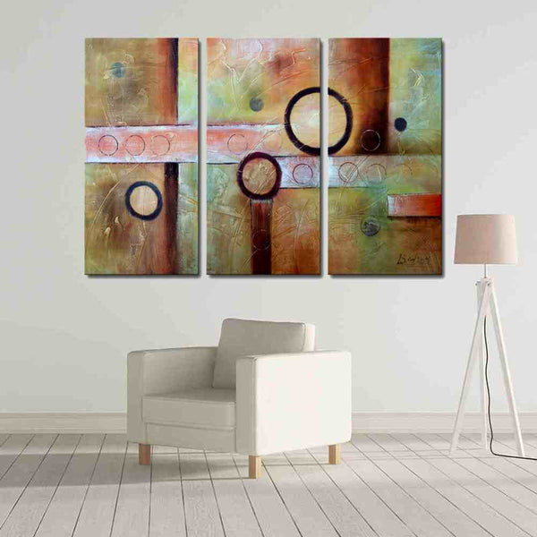 3 pieces circle abstract oil painting canvas framed wall art