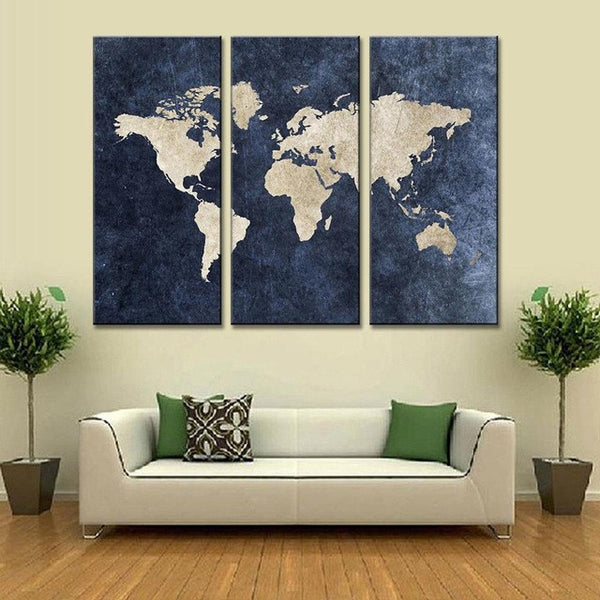 navy blue world map canvas wall art push pin world map