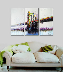 Brooklyn Sparkles abstract 3 pieces oil painting canvas wall art amazon