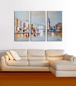 The Harbour View abstract 3 pieces oil painting canvas wall art amazon