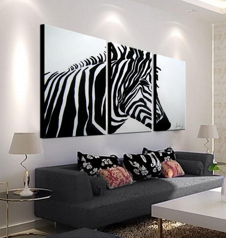 Black and White Zebra | Buy High-Quality Abstract Oil Paintings | Panel Wall Art