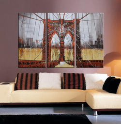 The Brooklyn Bridge abstract 3 pieces oil painting canvas wall art amazon