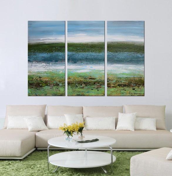 Ocean Breeze abstract 3 panels oil painting canvas wall art etsy