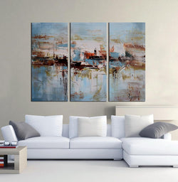Fog abstract 3 pieces oil painting canvas wall art amazon