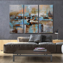 Mist abstract 3 pieces oil painting canvas wall art amazon
