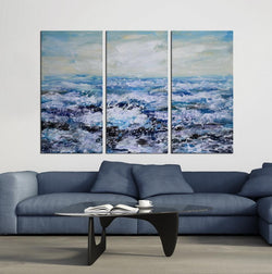 Beach and Wave abstract 3 panels oil painting canvas wall art etsy
