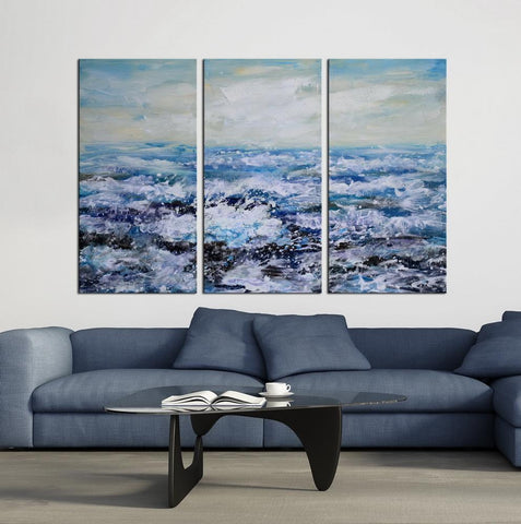 beach and waves canvas wall art oil painting by hand