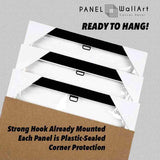 Ready to hang pack in carton box hook mounted canvas wall art by Panel Wall Art panelwallart.com