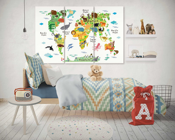 3 panel animals world map canvas wall art framed by panelwallart.com