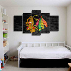5 panel ice hockey canvas wall art chicago blackhawks