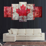 5 panel retro design of country flag canvas wall art
