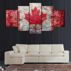 5-panel canadian flag canvas wall art print unique panelwallart.com