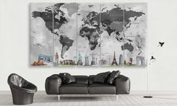 Black and Grey World Map with Monuments | Push Pin World Map Panel Wall Art by panelwallart.com