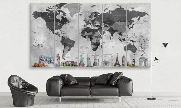 Black and Grey World Map with Monuments