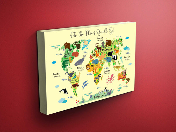 1 panel animals world map canvas wall art print by panelwallart.com
