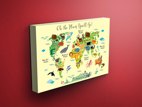 Nursery Animals World Map Canvas - Dr Seuss Quote (Yellow)