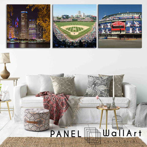 3 square pieces chicago cubs canvas wall art