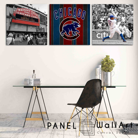 3 panels chicago cubs canvas wall art