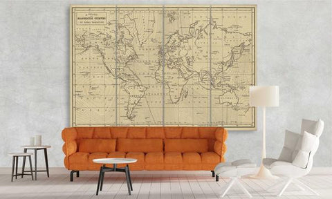 Vintage world map with magnetic curves world map canvas world map with magnetic curves gumiabroncs Choice Image