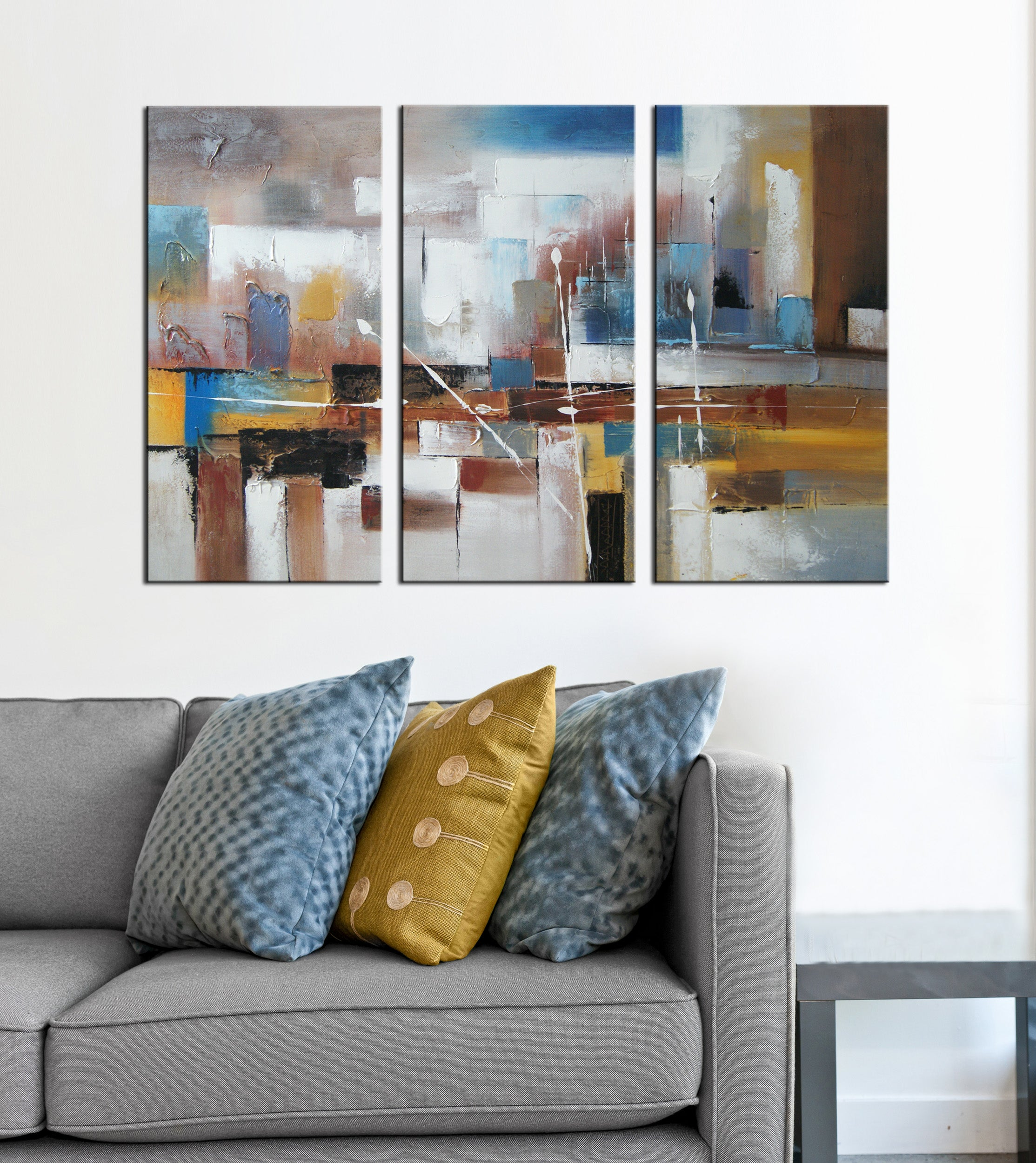 3 pieces brown square oil painting canvas framed wall art