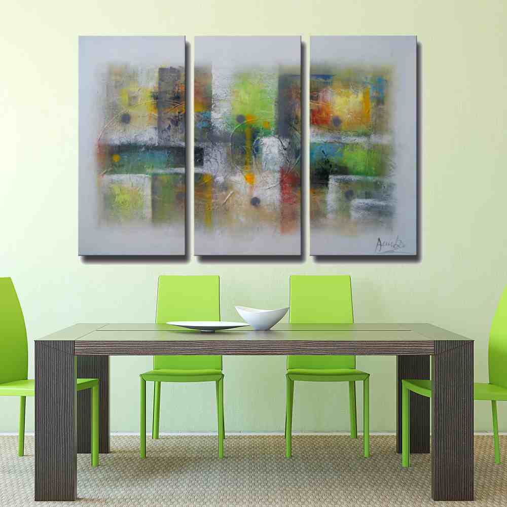 3 pieces green and grey oil painting canvas framed wall art amazon