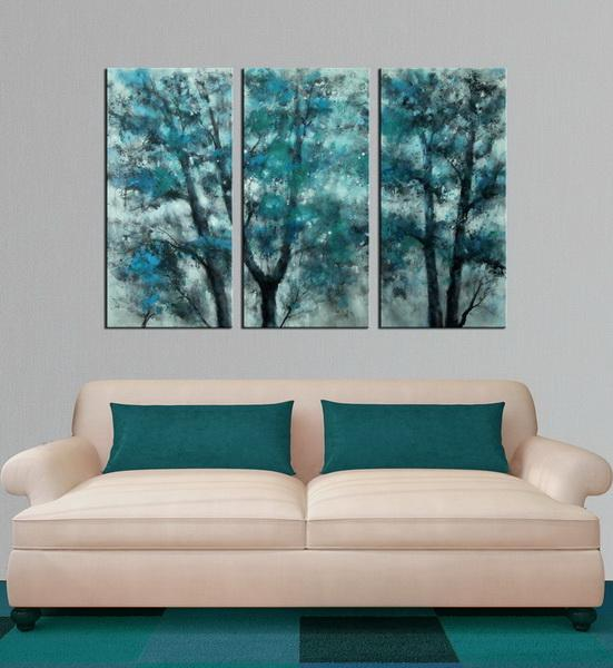 Teal Forest abstract 3 panels oil painting canvas wall art etsy