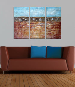 Seashell abstract 3 panels oil painting canvas wall art etsy