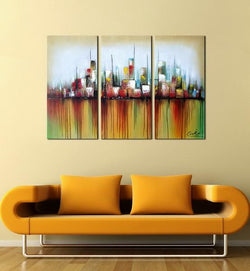 Vibrant City abstract 3 pieces oil painting canvas wall art amazon