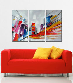 City Pace abstract 3 pieces oil painting canvas wall art amazon