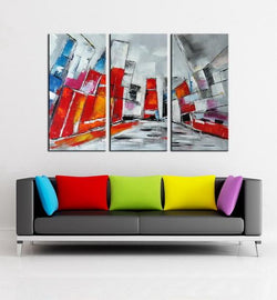 City Block abstract 3 pieces oil painting canvas wall art amazon