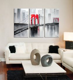 Red Brooklyn abstract 3 pieces oil painting canvas wall art amazon