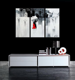 Charm In The Rain abstract 3 pieces oil painting canvas wall art amazon