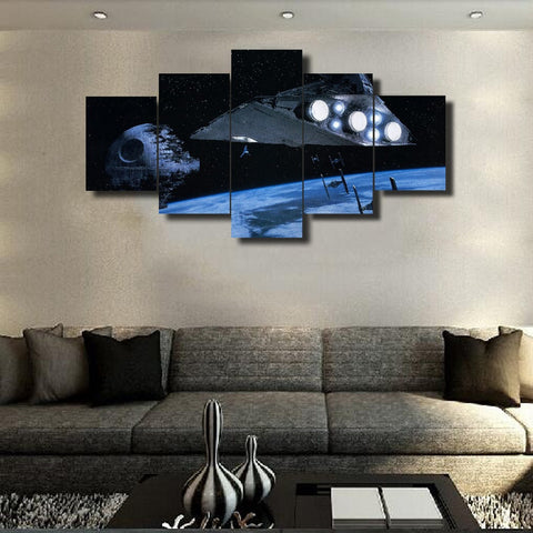 Star Wars in Space | 5 Panel Canvas Wall Art Prints by Panel Wall Art