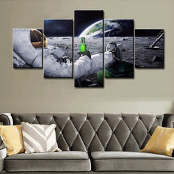 5 PANEL canvas wall art of astronaut drinking beer