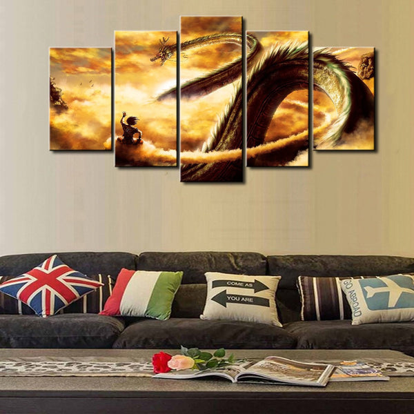 5 panel dragon balls canvas wall art