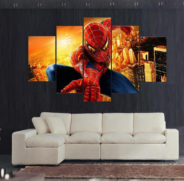 5 panel spider man canvas wall art